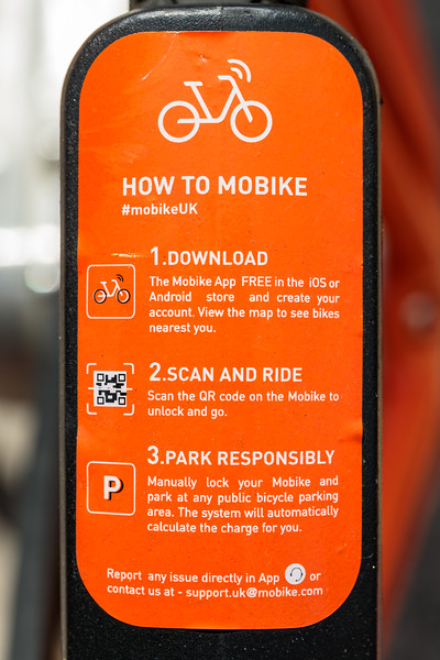 Mobike hire directions on the Mobike bicycle