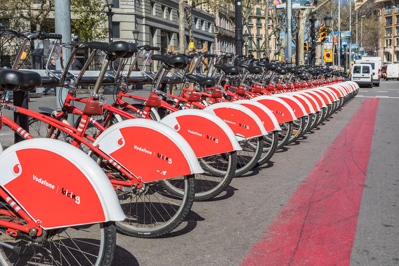 Viu Bicing hire bikes at a docking station in Barcelona, Spain