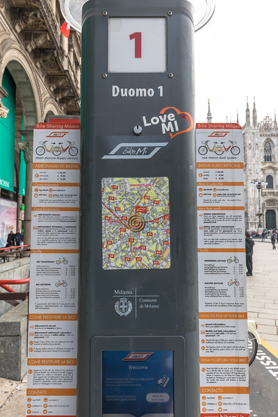 BikeMi's Duomo 1 bicycle rental station for electric and standard bikes in Piazza del Dumo, Milan, Italy