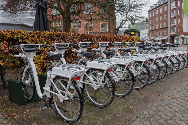 A GoBike electric bike station at the corner of Allegade and Gammel Kongevej, Copenhagen
