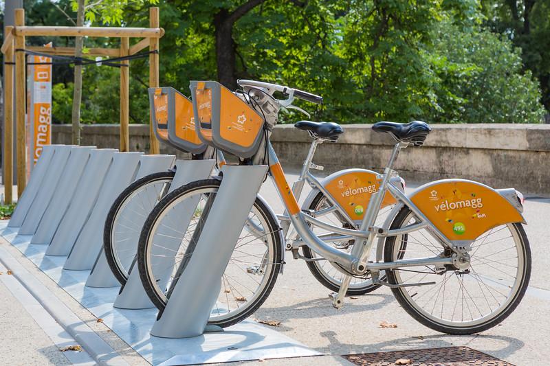 Velomagg bike rental station on Boulevard Henri IV, Montpellier, France