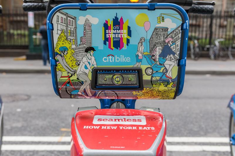 Citibike advertising on bicycle basket