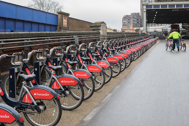 One of several Santander bike rental stations in the vicinity of Waterloo train station in London, England