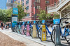 A Citibike rental station at the intersection of Chamber and West Street in lower Manhattan, New York City, USA