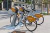 Velomagg bicycle rental station on Boulevard Henri IV in Montpellier, France