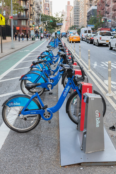 Docked Citibikes at First Avenue and 68th Street in Manhattan, New York, USA