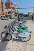 Hudson Bike Share bikes outside the Hoboken PATH train and bus terminal in New Jersey, USA