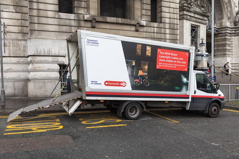 Distributing Santander hire bikes at Waterloo Station, London