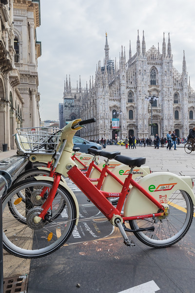 BikeMi bicycle rental station in Piazza del Duomo, Milan, Italy