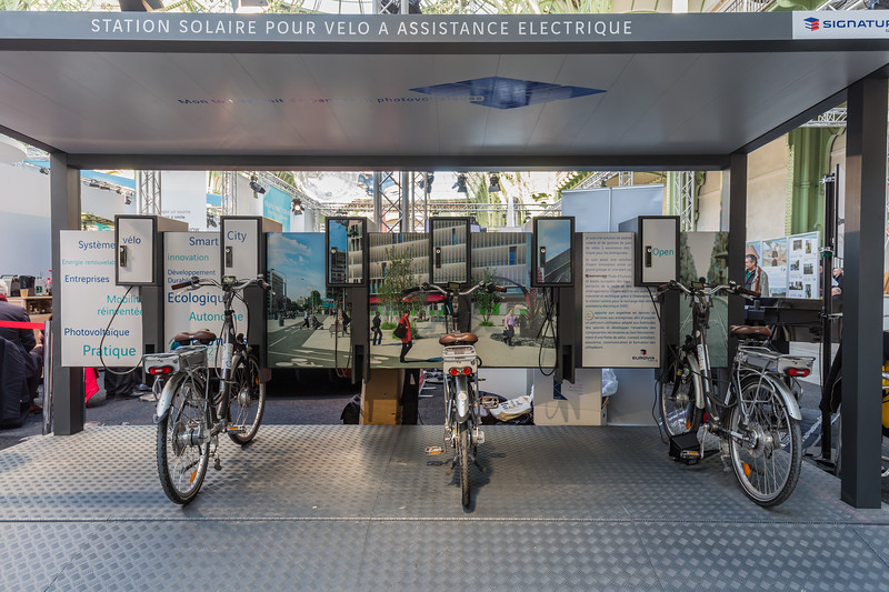 Signature Group electric bicycle charging station at Climate Solutions, Paris