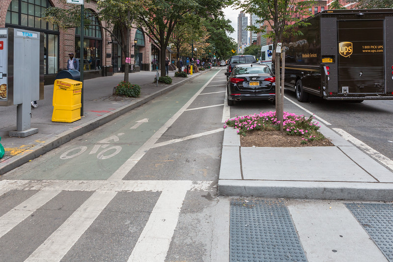 Protected bicycle lane on the Upper West Side of Manhattan