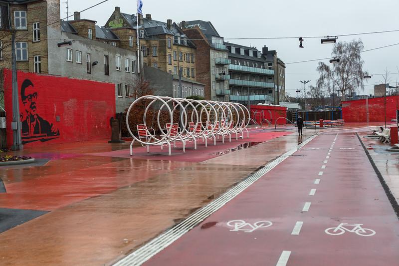 Superkilen red area cycle track, Nørrebro district, Copenhagen