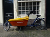 Dutch bicycle ( bakfiets ) on streets of Amsterdam photographed on 6 August 2009<br /> File No. 060809 500<br /> ©RLLord <br /> fishinfo@guernsey.net
