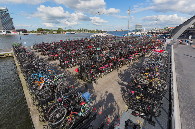 Amsterdam Centraal Station bicycle parking on IJ