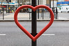 Heart shaped bicycle tie-up at Elephant & Castle, London
