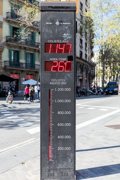 Bicycle counter at Placa Tetuan, Barcelona, Spain