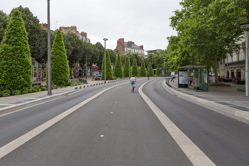 Cycling on a segregated bicycle lane in Nantes, France