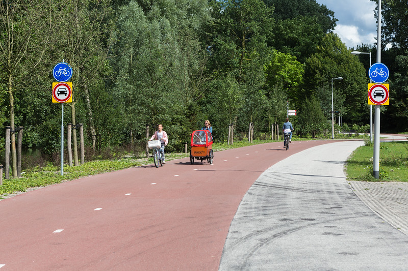 Fabulous cycling road in Beatrix Park in the south of Amsterdam