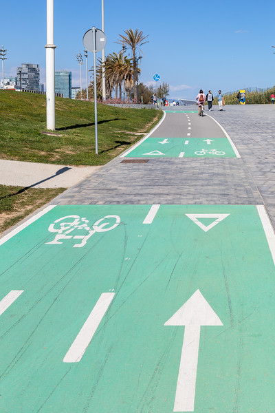 Bicycle lanes along the coast at Barcelona, Spain