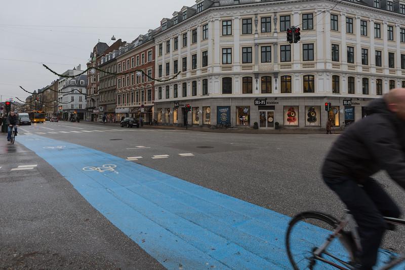 Blue bicycle lane along Gammel Kongevej, Copenhagen