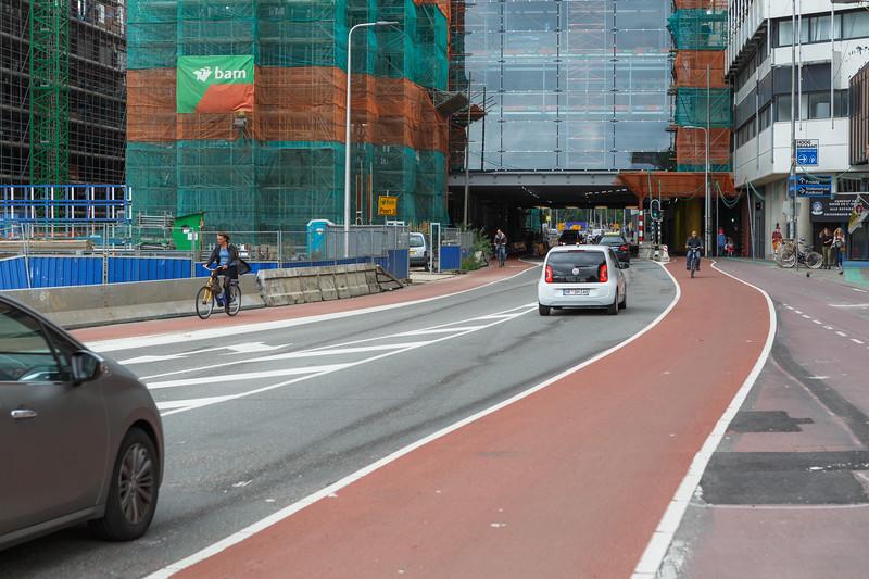 Bicycle lanes on Catharijnesingel in Utrecht, Netherlands