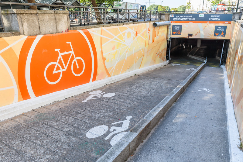 Underground bicycle park by Allée Brancas in Nantes, France