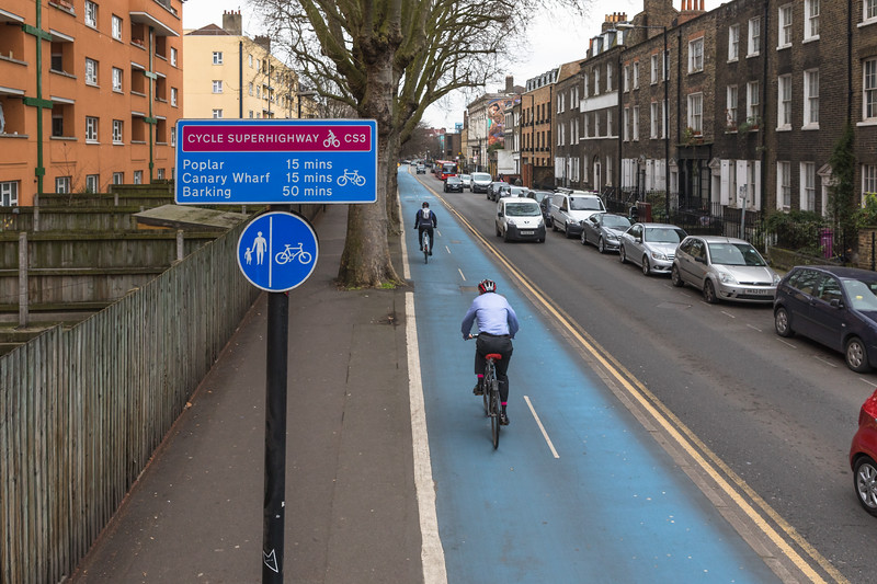 Cycle Superhighway 3 along Cable Street, London