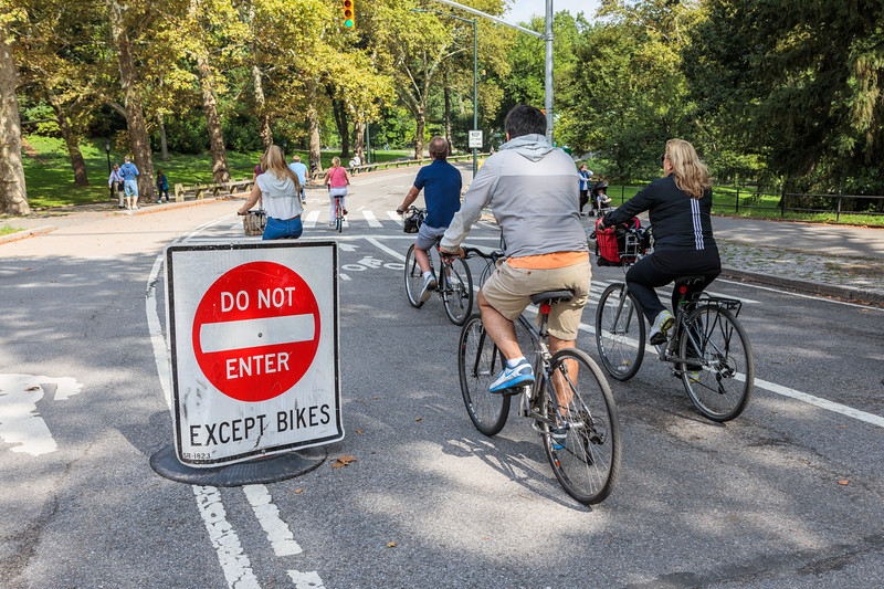 wide cycling roads in Central Park, New York City, USA