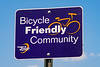 Bicycle Friendly Community road sign in Hoboken, New Jersey, USA