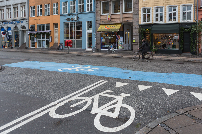 Bicycle lane marking at junction of Gothersgade and Store Regnegade, Copenhagen