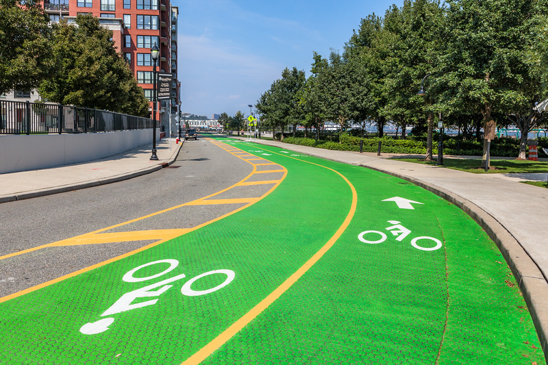 Bicycle lanes on the Hoboken, New Jersey waterfront