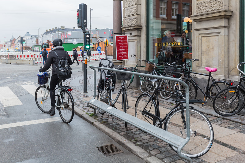 Bicyclist footrest and handrail at traffic light on junction of Korgens Nytorv and Gothersgade, Copenhagen