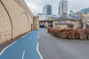 Cycle Superhighway 3 looking east towards Canary Wharf