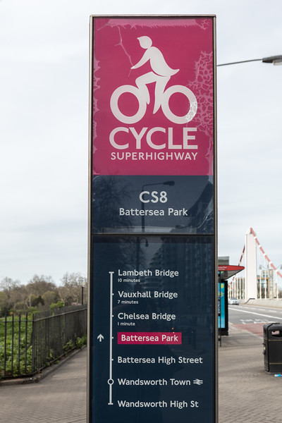 Information board along Cycle Superhighway 8 in London