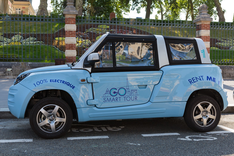 Bollore's BlueSummer electric car for rent at Autolib' station  in Versailles, France