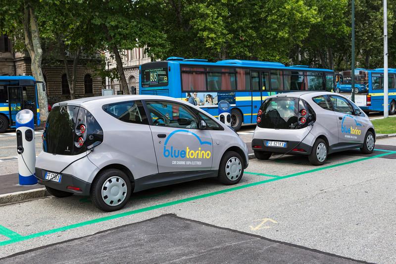 Blue Torino electric car sharing station next to Torino Esposizioni