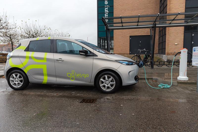 A Letsgo electric Renault Zoe charging in Copenhagen