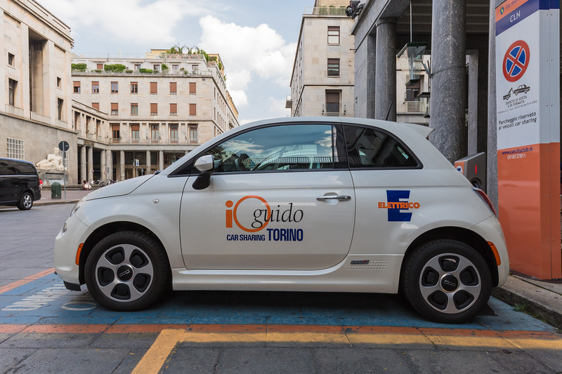 Electric Fiat 500 at City Car Club Torino car sharing station