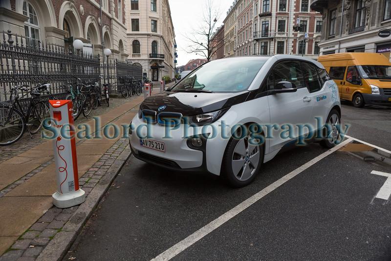 A DriveNow electric BMW i3 on Herluf Trolles Gade, Copenhagen