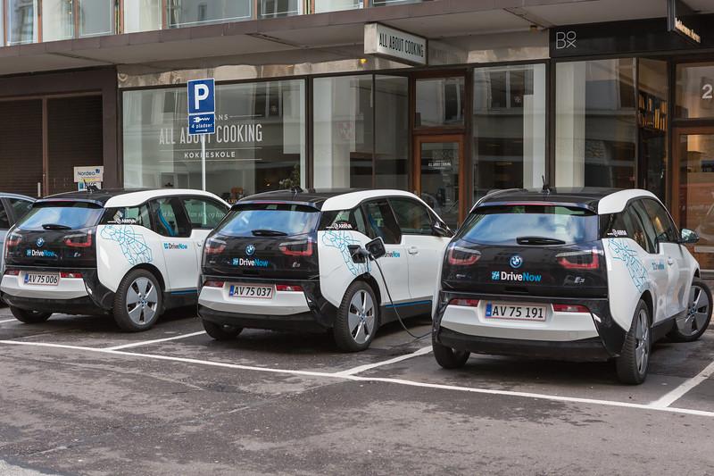 Three BMW i3 DriveNow electric cars on Trommesalen, Copenhagen