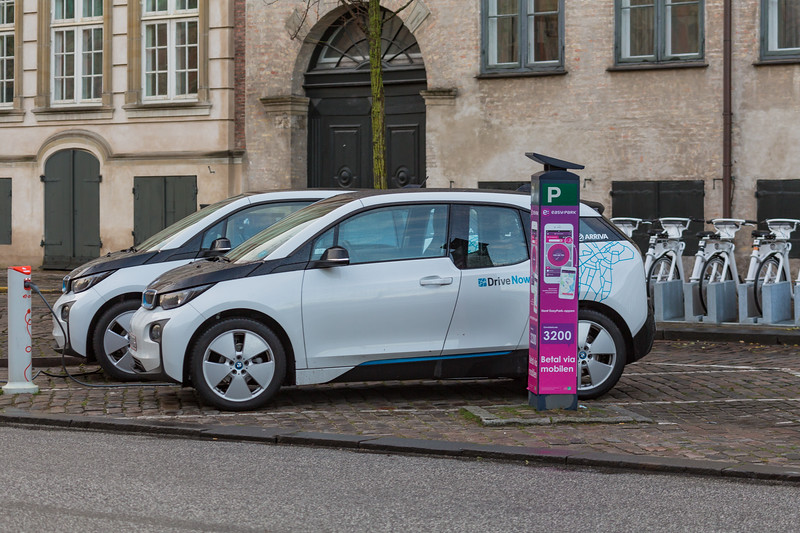 Two DriveNow BMW i3 electric cars on Slotsholmsgade, Copenhagen
