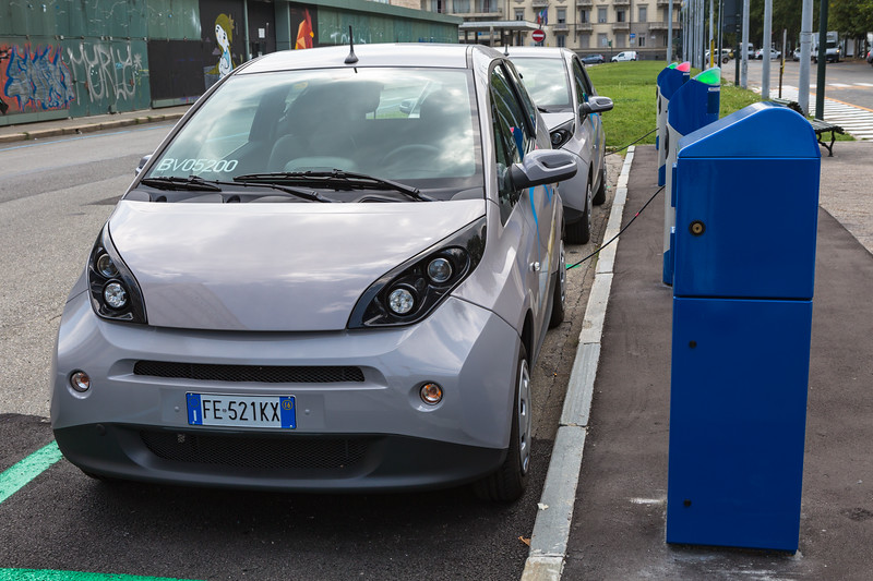 Bluetorino electric car sharing service station in Turin, Italy
