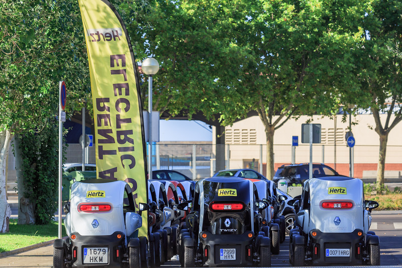 A fleet of Hertz Renault Twizy's for hire at Palma's passenger ship terminal