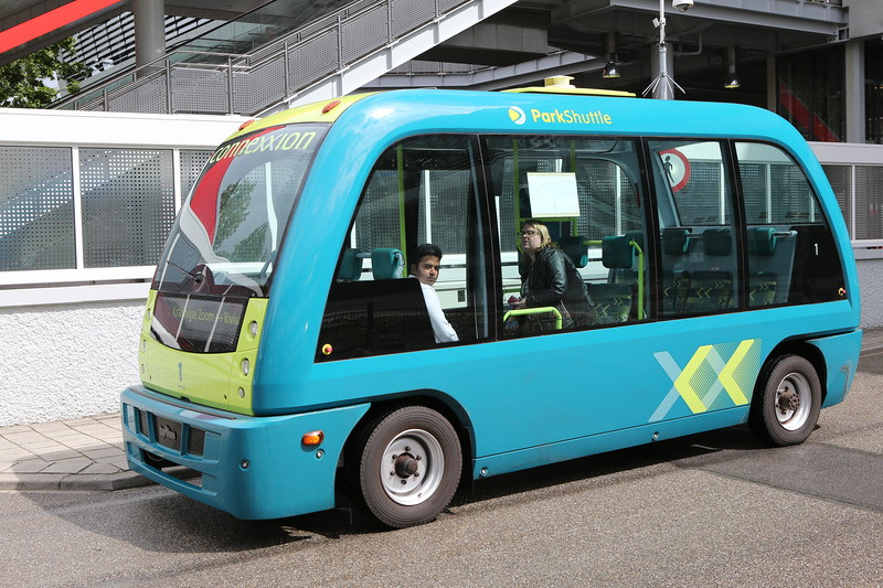 ParkShuttle electric automated road vehicle operating in Rotterdam, Netherlands