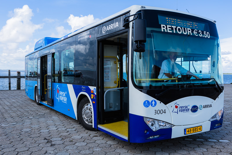 BYD electric bus operated by Arriva on Schiermonnikoog Island, Netherlands