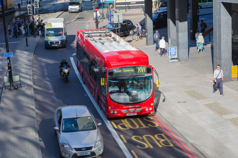 Hydrogen fuel cell powered bus on route RV1 in London