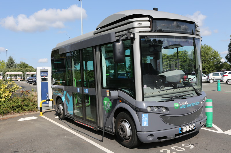 Electric Bluebus charging at TUL bus depot