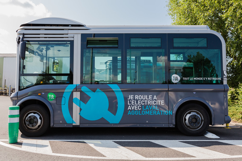 Electric Bluebus charging at the TUL bus depot, Laval, Brittany