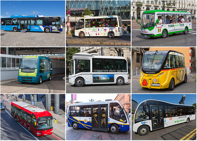 Nine electric buses on 5 x 7 inch print