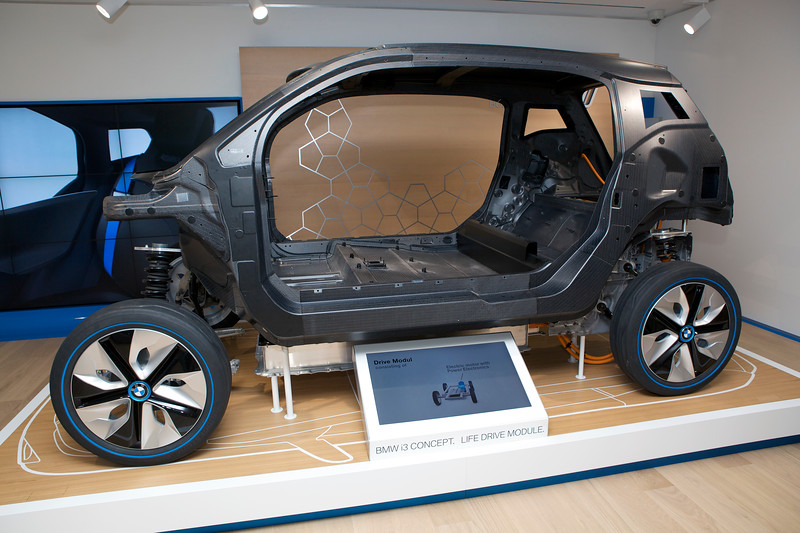 """The carbon fibre chassis of the BMW i3 concept car at the BMW i showroom on Park Lane, London on 6 August 2012.<br /> <br /> File No. 060812 8798<br /> ©RLLord<br /> <br /> sustainableguernsey@gmail.com<br /> <br /> <a href=""""http://www.sustainableguernsey.info/blog/"""">http://www.sustainableguernsey.info/blog/</a><br /> <br /> ."""